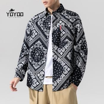 YOYOO new autumn men clothing oversized print shirts casual loose shirt fashion style mens man