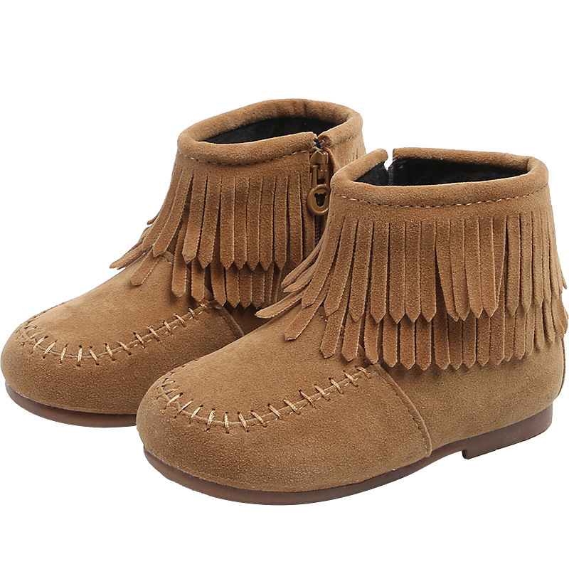 Winter Girls Ankle Boots Booties Plus Velvet Warm Kids Cotton Shoes Fashion Tassels Boots Children Shoes Princess Girls Boots