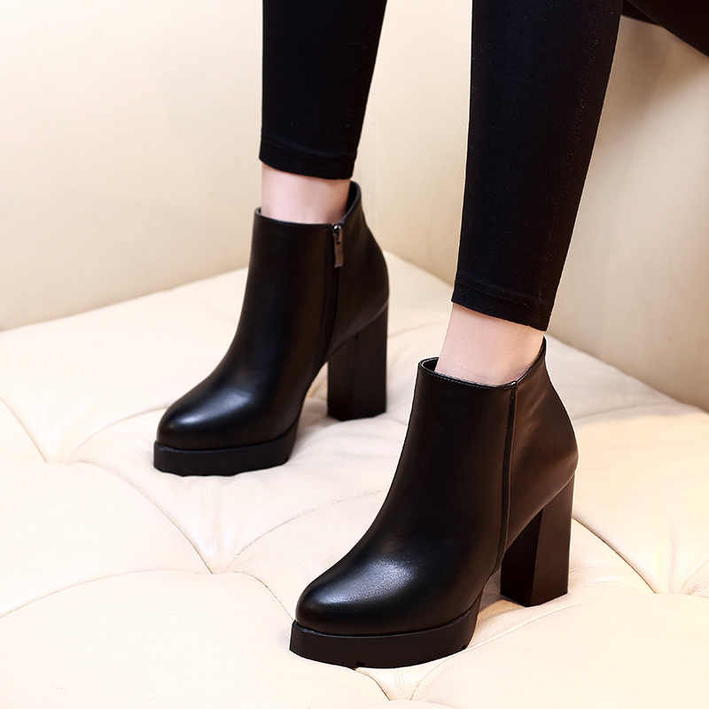 Winter warm New Arrival Fashion Shoes Women Boots Elasticated Patent Leather Ankle Boots Round head high Heel Boots Sexy Shoes