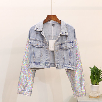 Spring Autumn New Multicolored Sequins Batwing sleeve Denim Jacket Women Loose Short Jeans Jacket Female Outwear Chaqueta Mujer