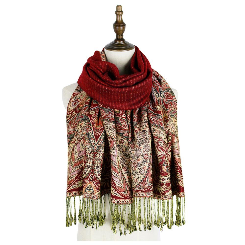 lady jacquard winter pashmina paisley scarf feminino inverno bandana shawls wraps thick graceful capes Pashmina r
