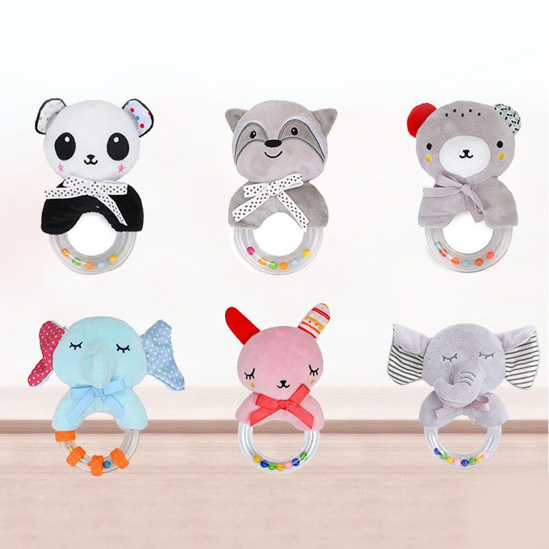 Baby Toys For 0-12 Months Cute Baby Rattles Newborn Hand Ring Cartoon Animal Plush Hand Bell Early Education Toys Infant Rattle