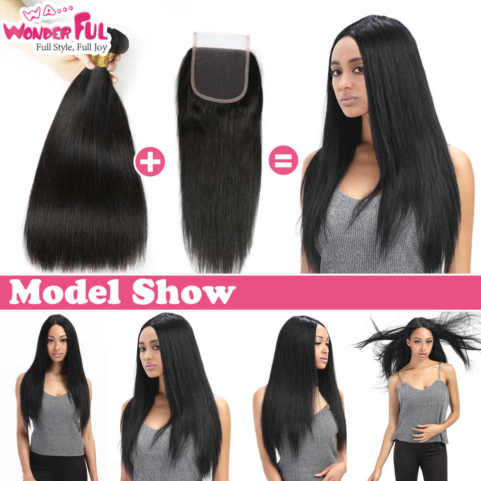 Straight Hair Bundles With Closure Transparent Lace 3 Bundles And Closure Natural Weaves Human Hair With Closures 28 Inch