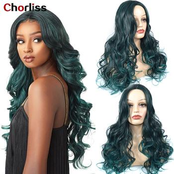 Ombre peruki długie faliste peruki syntetyczne peruki do włosów Chorliss Dream Green środkowa część włosów peruki dla kobiet włókno termoodporne włosy peruka tanie i dobre opinie Wysokiej Temperatury Włókna long Falista 1 sztuka tylko 150 Średnia wielkość Ombre Wigs Long Wavy Wigs Synthetic Hair Wigs