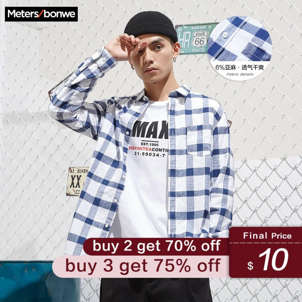 Metersbonwe 2019 New Men Long Sleeve Cotton Shirt Spring Autumn Retro Plaid Shirt Leisure Loose Shirt Men