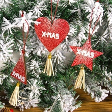 DIY Christmas Wooden Pendant Wood Craft Xmas Tree Ornament Color Painted Lovely Ornaments Party Decor