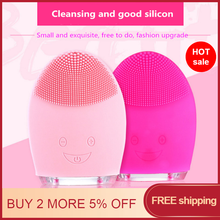 Mini Waterproof Silicone Electric Face Cleansing Brush Portable Facial Washing Machine Skin Care Massage Tool Dropshipping portable facial cleaning brush mini electric massage washing face machine deep cleansing waterproof silicone cleansing tool