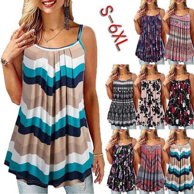 Plus Size S-6 XL Ladies Shirt Women Summer Sleeveless Floral Print Casual Loose Female T shirt Tops