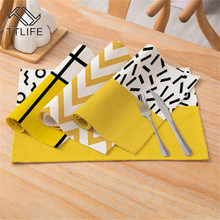 TTLIFE Creative Geometric Printed Kitchen Placemat Dining Table Mat Cotton Linen Pads Cup Bowl Coaster Decoration Napkins