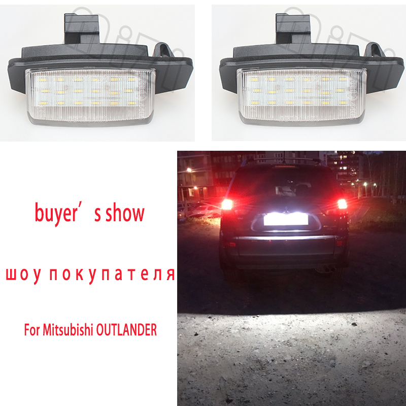 For Mitsubishi OUTLANDER XL(CW) 2006-2012 LED Number License Plate Lights Lamps For Lancer Sportback 2008~2012 Car Accessories