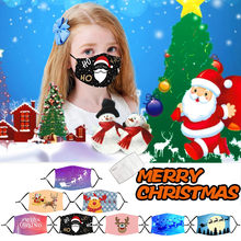 Adult Unisex Fashion Christmas Print Mask Adjustable Washable and Reusable Face Mask with Filters Bandage Máscara facial 2020(China)