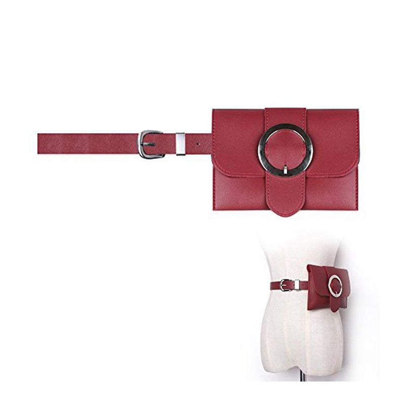 Women Round Buckle Leather Fanny Pack,Removable Round Buckle Belt With MINI Purse Travel Cell Phone Bag(Red)