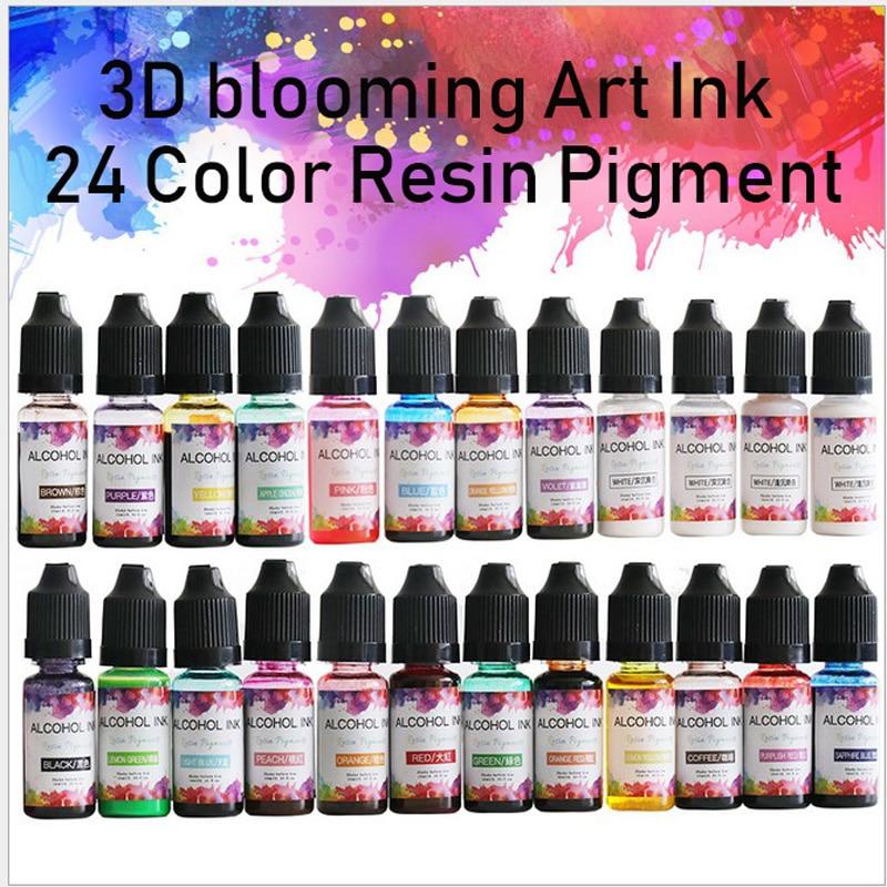 Pigmento de resina epoxi, 24 colores, 10ML, tinta Kit de arte, resina líquida, colorante, tinta de difusión para Molde de resina Epoxy, fabricación de joyas
