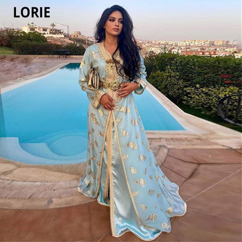 LORIE Arabia Dress for Party Moroccan Kaftan Evening Dresses Women Formal Long Sleeve Light Blue Prom Gowns Plus Size 2020