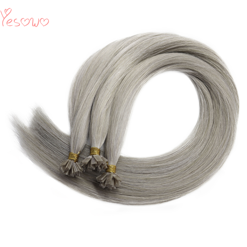 Yesowo 1.0g/strand Keratin Flat Tip Extensions Silky Straight High Quality Grey Human Hair Pre Bonded Hair Extensions