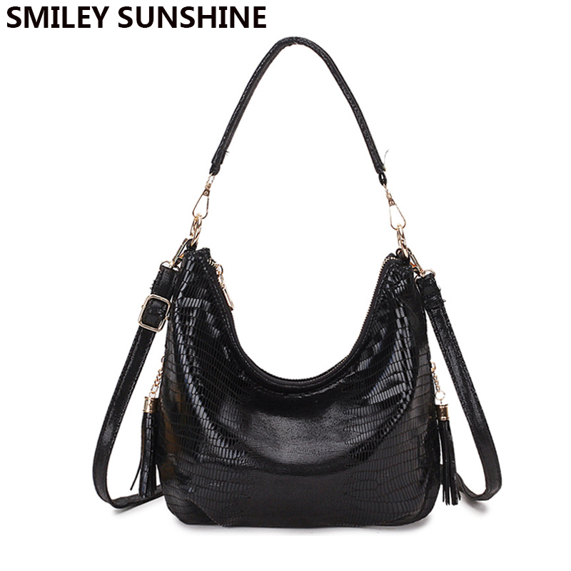 SMILEY SUNSHINE Assel Hobo Women Shoulder Bag Soft Leather Women Handbag Vintage Messenger Bag Black Crossbody Bags Female Bag