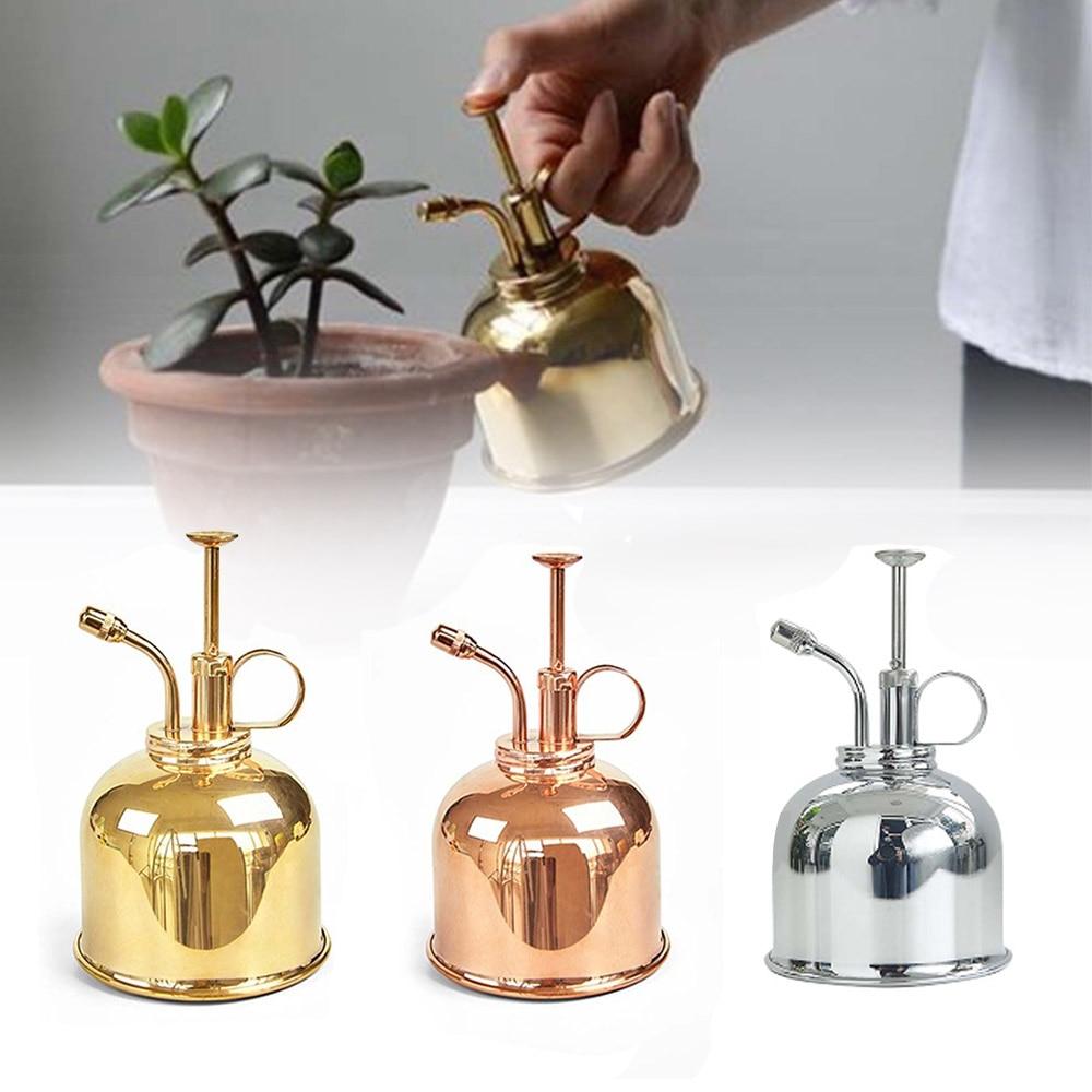 300mL Mini Brass Home Plant Mister Plunger Flower Water Spray Bottle Potted