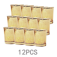 12 Pcs Gold Living Room Candle Stick Decoration Spot Decorative Glass Wedding Candlestick Jar Cup