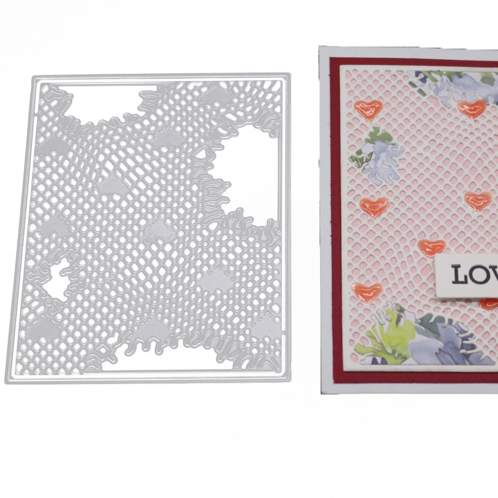 Rectangle Metal Cutting Dies Stencil Irregular Lattice Heart Decoration Cut Die Scrapbooking Embossing New Craft Stamps And Dies