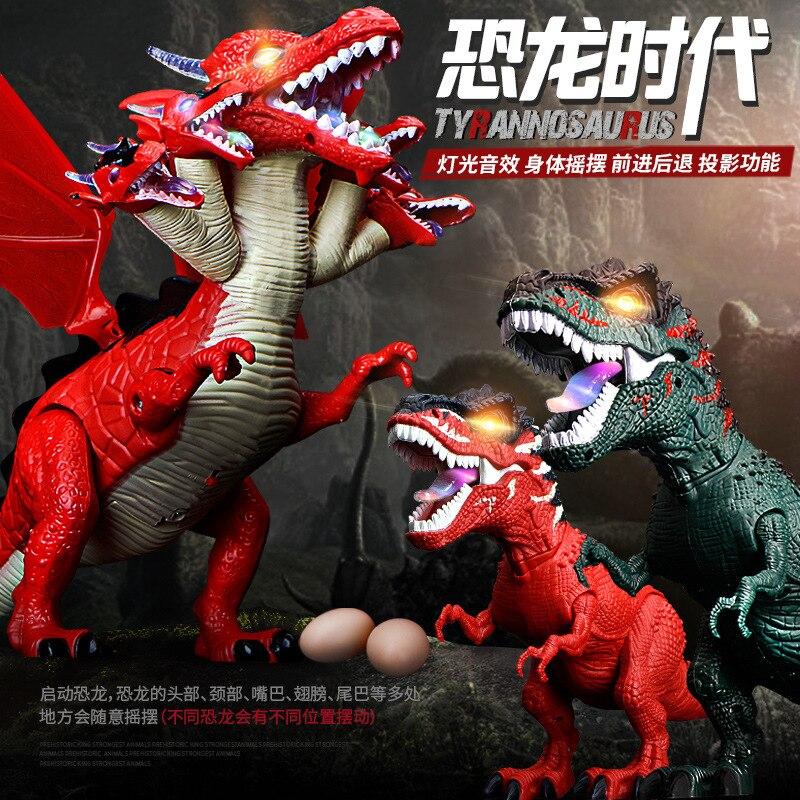 Jouets de dinosaures électriques pour enfants simulation t-rex modèle dinosaures pondent des œufs, émettent de la lumière, émettent du son et marchent