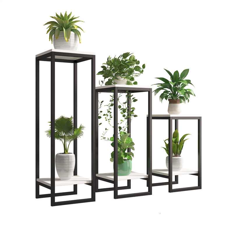 Art Flower Rack European Style A Living Room Balcony To Ground Simplicity Multi-storey Shelf Green Laojia Potted Plant Shelves