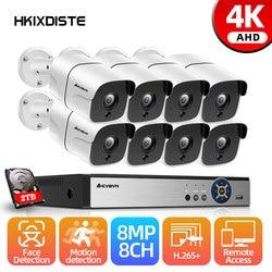 Ultra HD 4K 8-канальная система видеонаблюдения, 8 Мп, комплект камеры AHD 6 в 1, система видеонаблюдения, комплект уличных камер безопасности, систе...