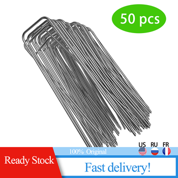 50pcs Galvanized Steel Gauge Garden Stakes Pile U-nail Fixing Nail For Weed Fabric Landscape