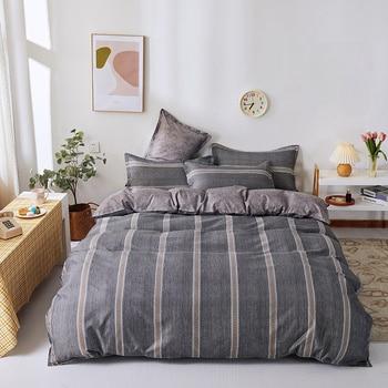 Simple Bedding Set Grey Stripe 26