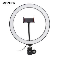Mezher LED Ring Light 26cm 6500K Selfie Ring Lamp Photographic Lighting With Tripod Phone Holder USB Plug Photo Studio