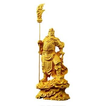 Cuchillo grande de madera estatua de Guan Gong accesorios de decoración del hogar artesanía moderna madera sólida Guan Yu estatua de Buda de la suerte Decoración