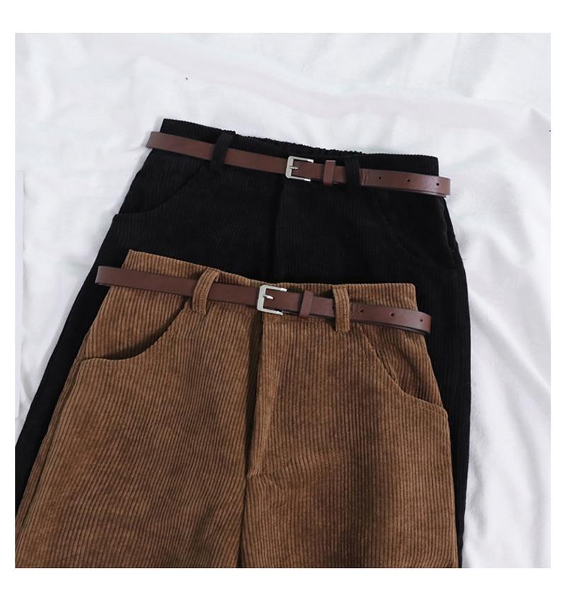 Lucyever New 2021 Women Spring Corduroy Pants High Waist Vintage Korean Wide Leg Pants Elegant Belt Loose Cotton Streetwear