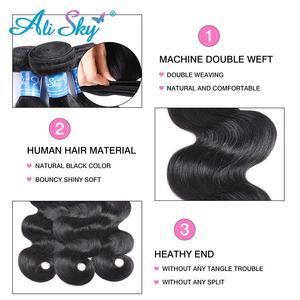 Image 3 - Ali sky Peruvian Hair Bundles with Closure Body Wave 100% Human Hair Remy Hair Lace Closure With Bundles NO Shedding Wholesale