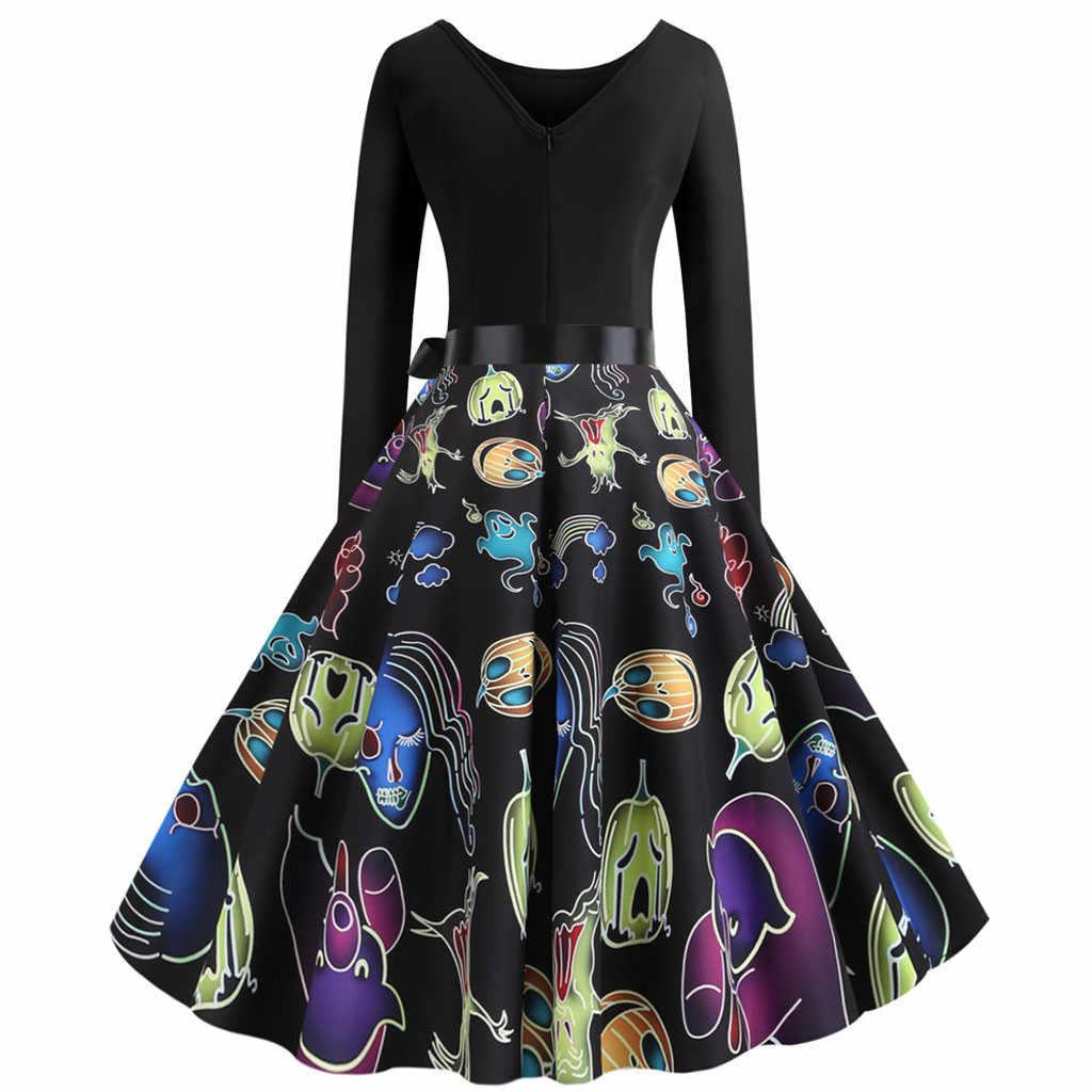 2019 moda verão outono pesadelo antes do natal vestido de manga longa crânio impressão feminina vestidos de festa do dia das bruxas vintage f817