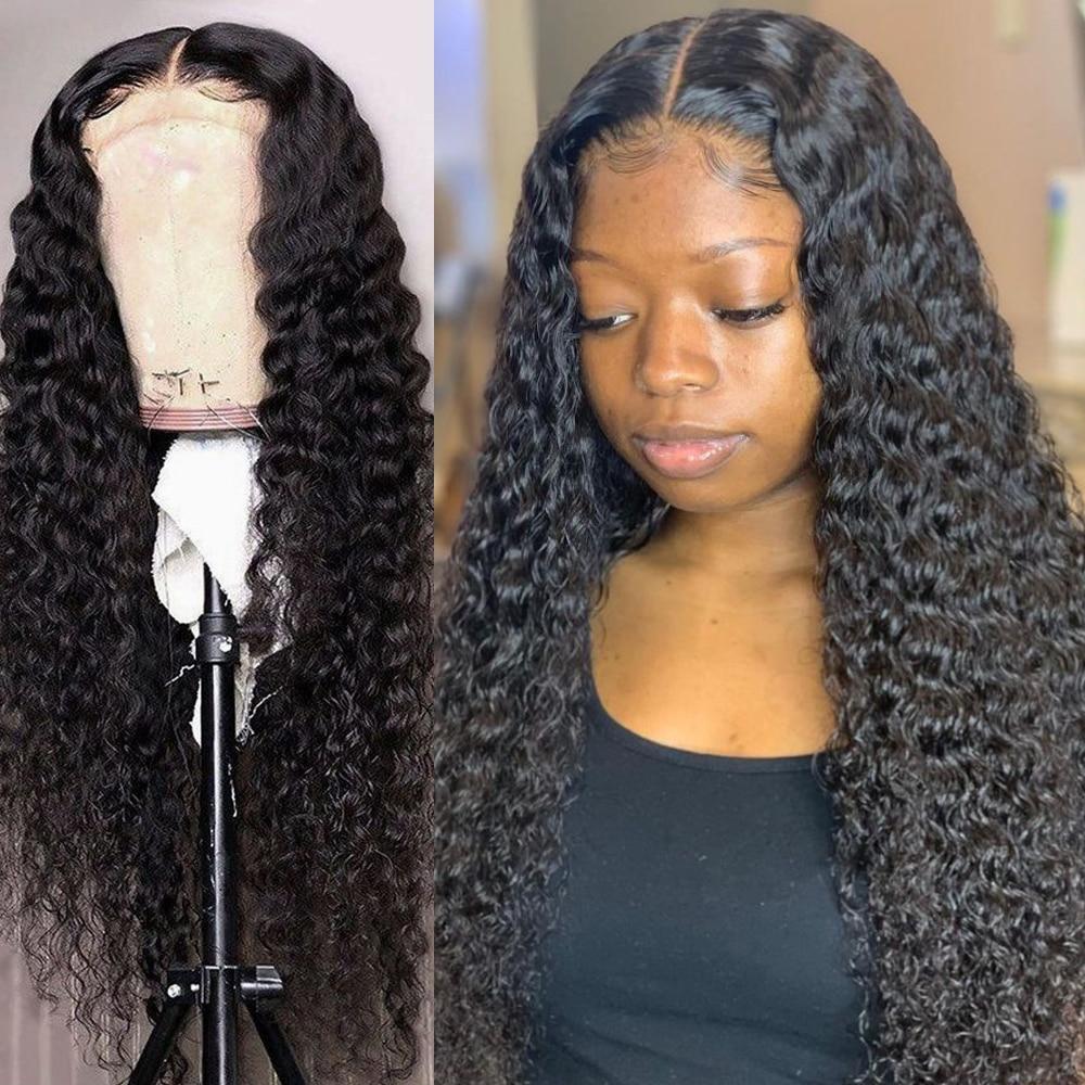 26, 28, 30, 40 дюймов, бразильские волнистые кудрявые волосы 13x4, парики из человеческих волос на фронте, глубокая волна, Remy, длинные кружевные пере...