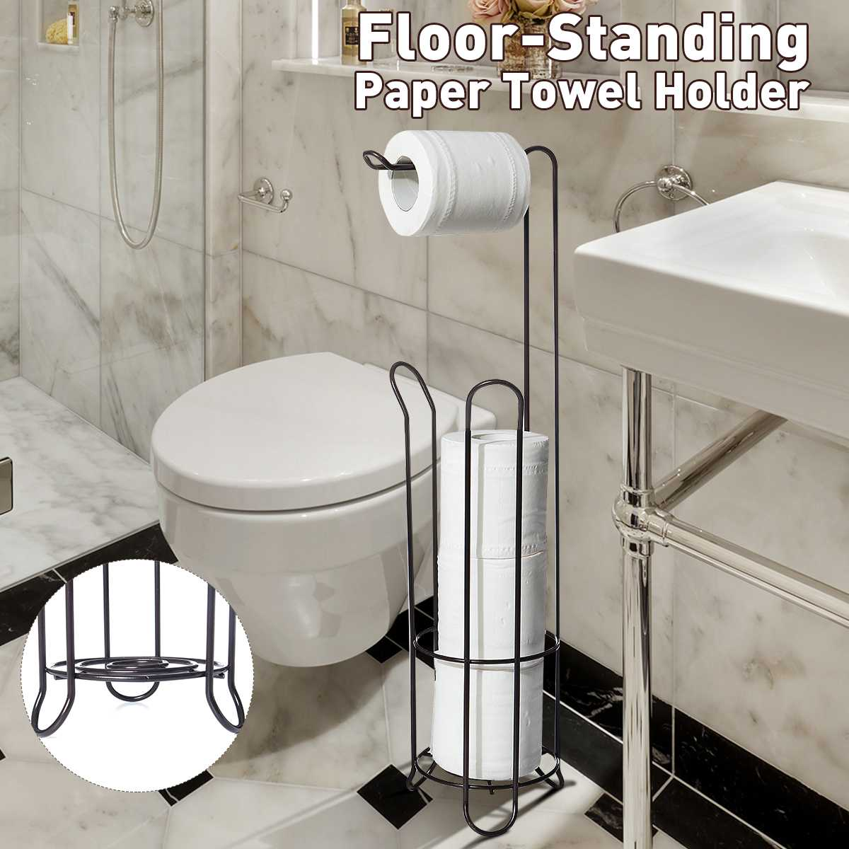 Iron Large Stand Toilet Paper Holder Tissue Roll Rack Bathroom Storage Container Bath Accessories Kitchen Organizer Freestanding