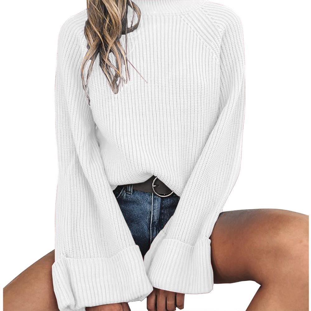 Nice Women Knitting Full Flare Sleeve O-Neck Sweaters Pullovers Girls Knitted Tops Knitwear