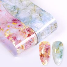 4*100cm Nail Folies Stickers Marmeren Bloem Nail Art Transfer Folie Sticker Slider Decal Papier Wraps voor 3D DIY Nailart Decoraties(China)