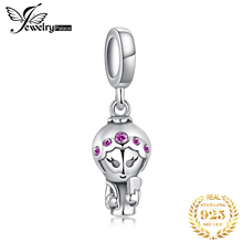 JewelryPalace Cute Girl Doll Created Red Ruby 925 Sterling Silver Charm Beads Beautiful Gift 2018 New Hot Sale For Women jewelrypalace luxury pear cut 7 4ct created emerald solid 925 sterling silver pendant necklace 45cm chain for women 2018 hot
