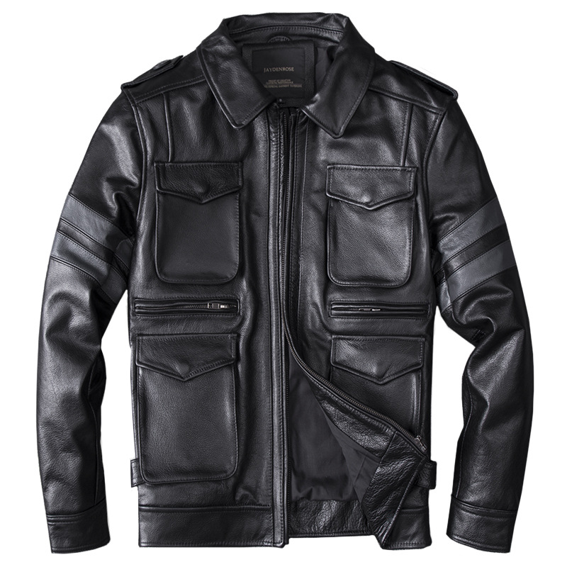 Men's Real Leather Jackets Genuine Leather Jacket Motorycycle Leather Coat Cow Leather