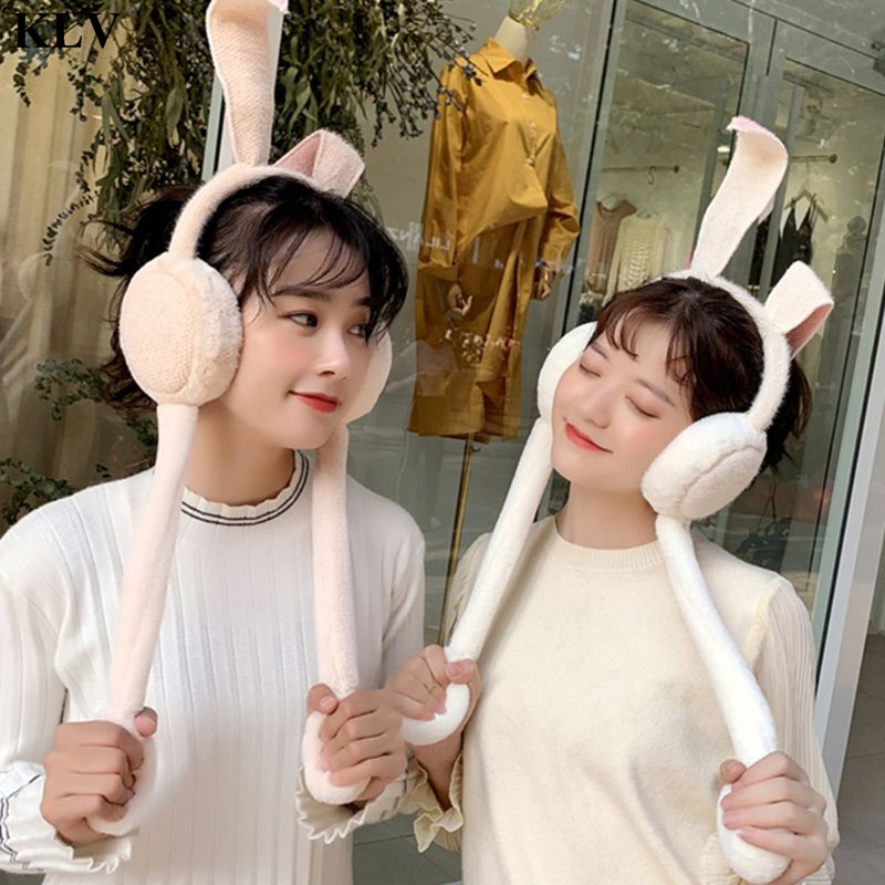 KLV Girls Rabbit Ear Muffles Plush Cover Movable Cute Trendy Animal Bunny Headwear Autumn Winter Warmer Head Wrap Lady Gifts