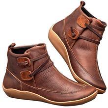 여자 아치 Spupport 부츠 짧은 봉 제 따뜻한 여자 부츠 겨울 방수 여자 신발 발목 PU 여자 부츠 WJ029