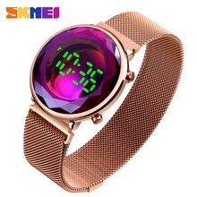SKMEI Creative Digital Watch for Women Stainless Steel LED F