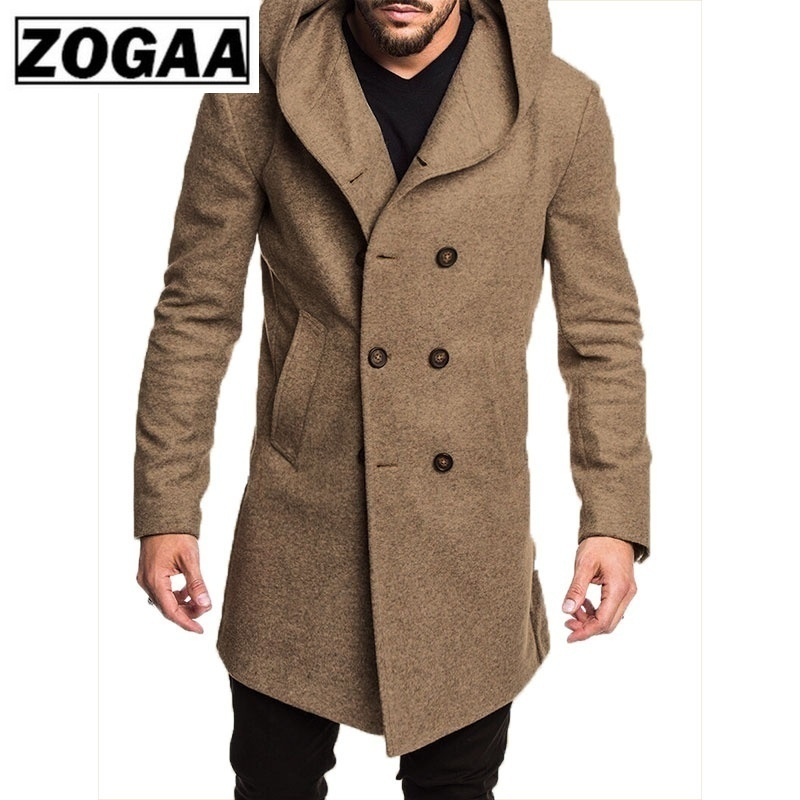ZOGAA Fashion Mens Trench Coat Jacket Spring Autumn Mens Overcoats Casual Solid Color Woolen Trench Coat for Men Clothing 2019 title=