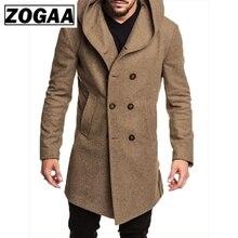 ZOGAA moda męska trencz kurtka wiosna jesień męskie płaszcze Casual Solid Color wełniany płaszcz francuski dla mężczyzn odzież 2019