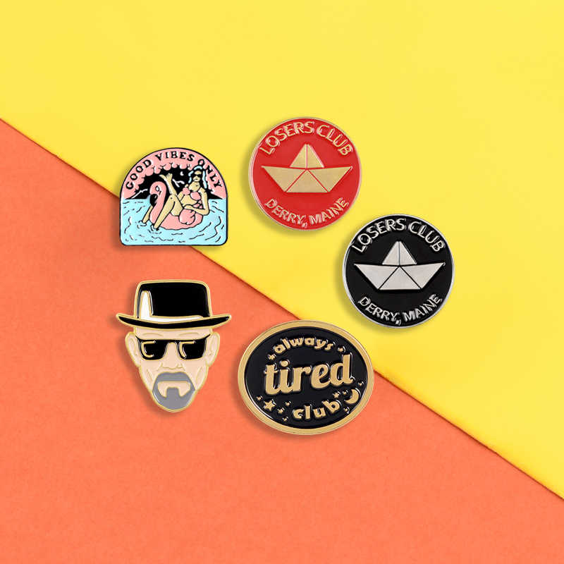 Killer Léon dello smalto pins Stanco Club badge Perdenti Club rotonda spille pin del Risvolto Dell'annata Dei Monili di modo regali