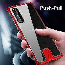 Metalowe szkło Xperia 5 etui do Sony Xperia 5 etui odporne na wstrząsy Ultra Slim bezramowe Push-Pull Coque do Sony Xperia 5 Funda