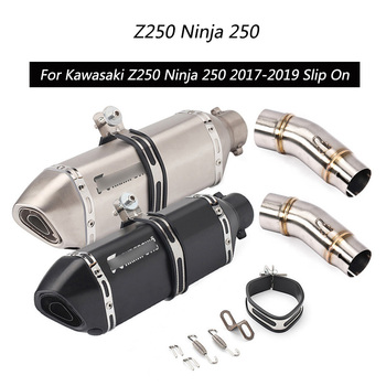 For 2017-2019 Kawasaki Z250 Ninja 250 Exhaust Pipe Slip On Motorcycle 51mm Escape Mid Tail Pipe Removable DB Killer Muffler