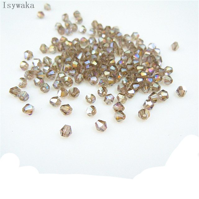 Isywaka Popular Sale Gray AB Color 650pcs 3mm Bicone Austria Crystal Beads Glass Beads Loose Spacer Bead for DIY Jewelry Making
