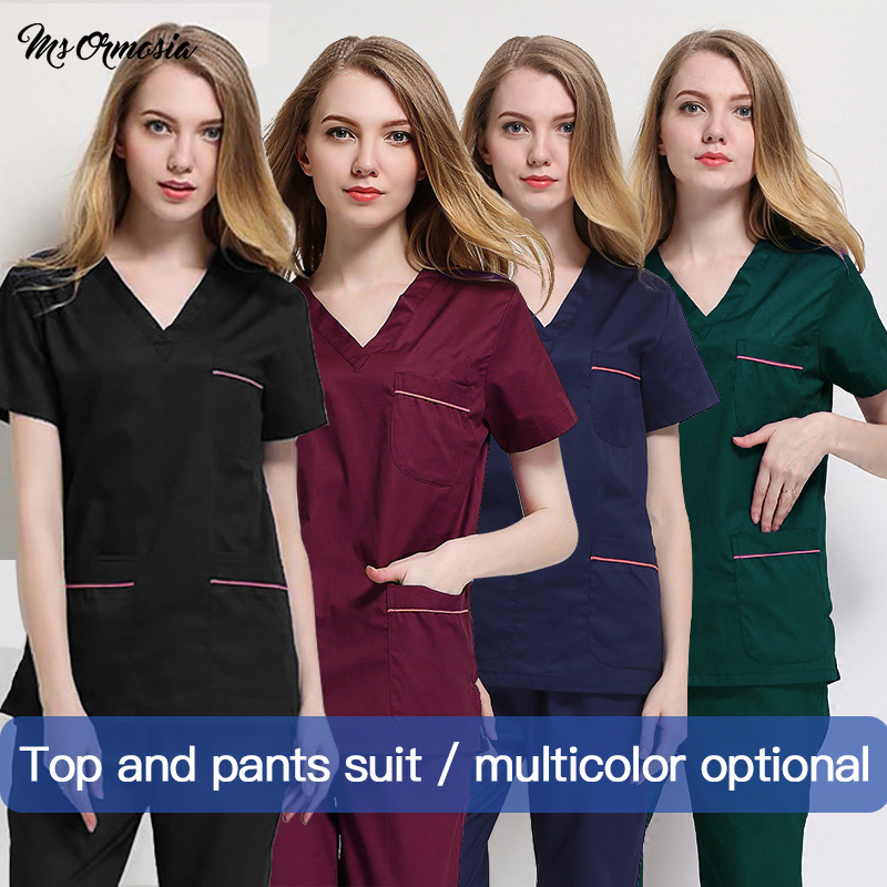 MSORMOSIA New Scrub Tops Nurse Uniform Scrubs Medical Uniforms Women Doctor Costume Accessories Surgery Cap Surgical Clothing