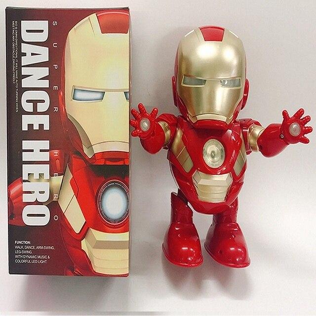 Dance IronMan Marvel Avengers Action Figure Ultraman Toy Led Flash Sound Music Robot Iron Man Mask Comic Cartoon Hero ElectronicNovelty & Gag Toys